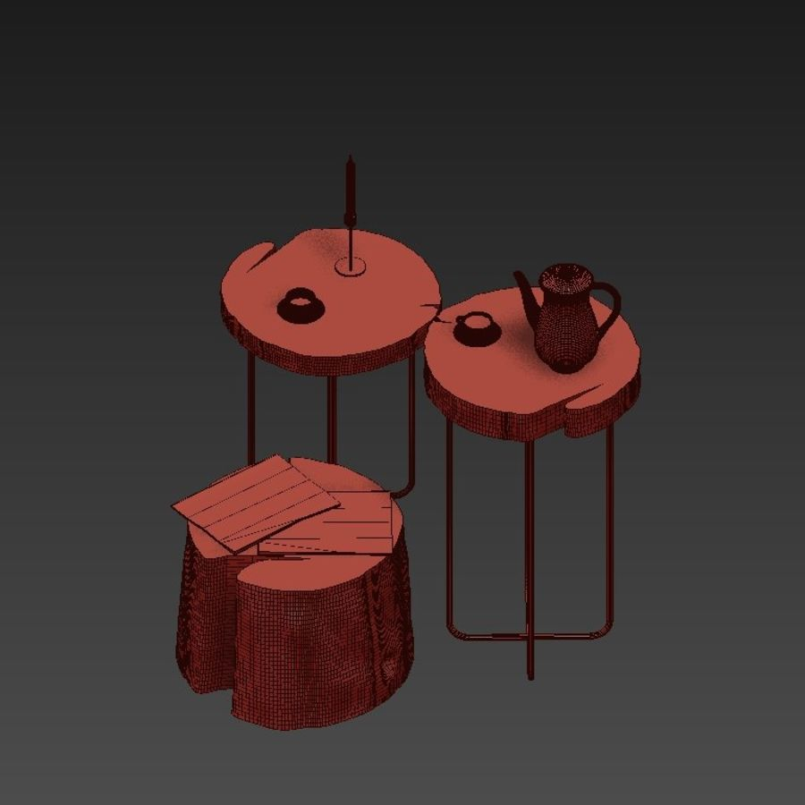 A set of tables from slab and stumps royalty-free 3d model - Preview no. 7