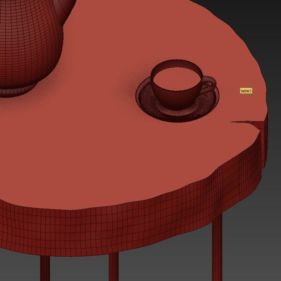 A set of tables from slab and stumps royalty-free 3d model - Preview no. 14