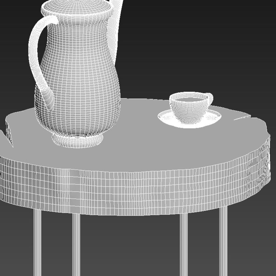 A set of tables from slab and stumps royalty-free 3d model - Preview no. 21