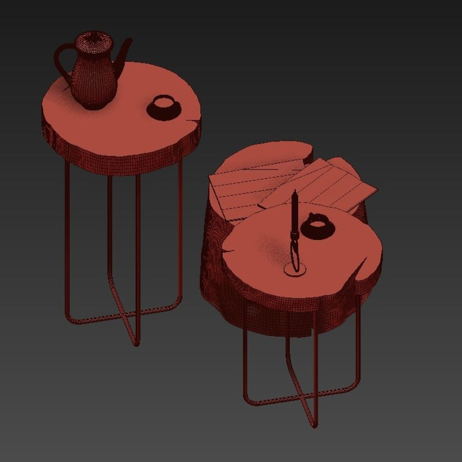 A set of tables from slab and stumps royalty-free 3d model - Preview no. 13