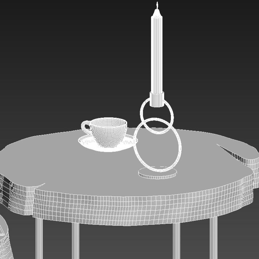 A set of tables from slab and stumps royalty-free 3d model - Preview no. 22