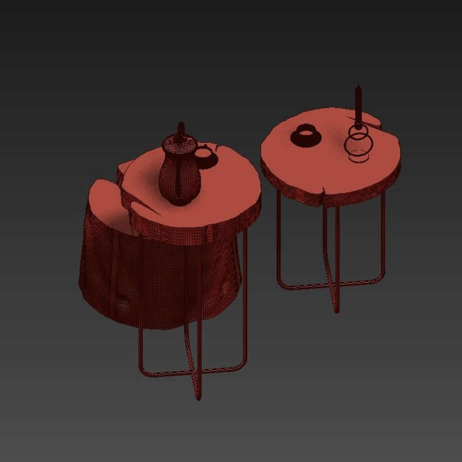 A set of tables from slab and stumps royalty-free 3d model - Preview no. 10