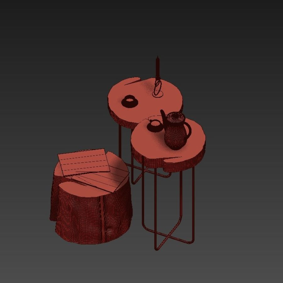 A set of tables from slab and stumps royalty-free 3d model - Preview no. 8