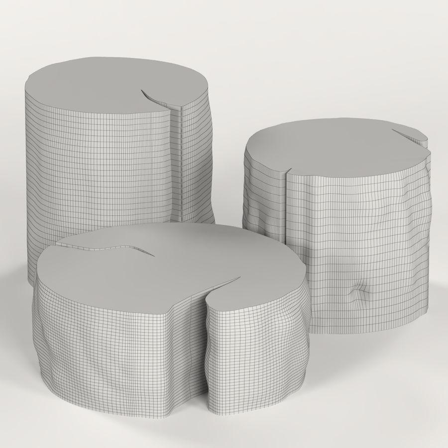 3 커피 테이블 그루터기 royalty-free 3d model - Preview no. 6
