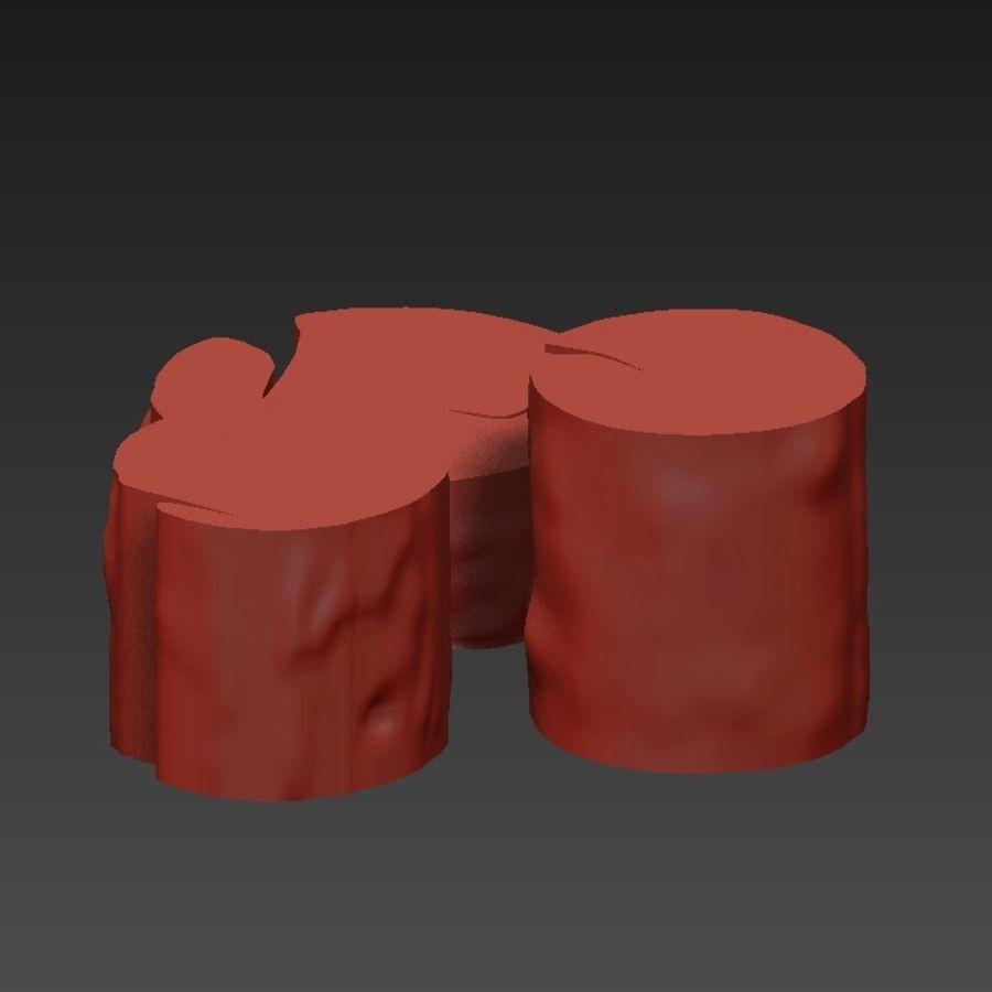 3 커피 테이블 그루터기 royalty-free 3d model - Preview no. 16