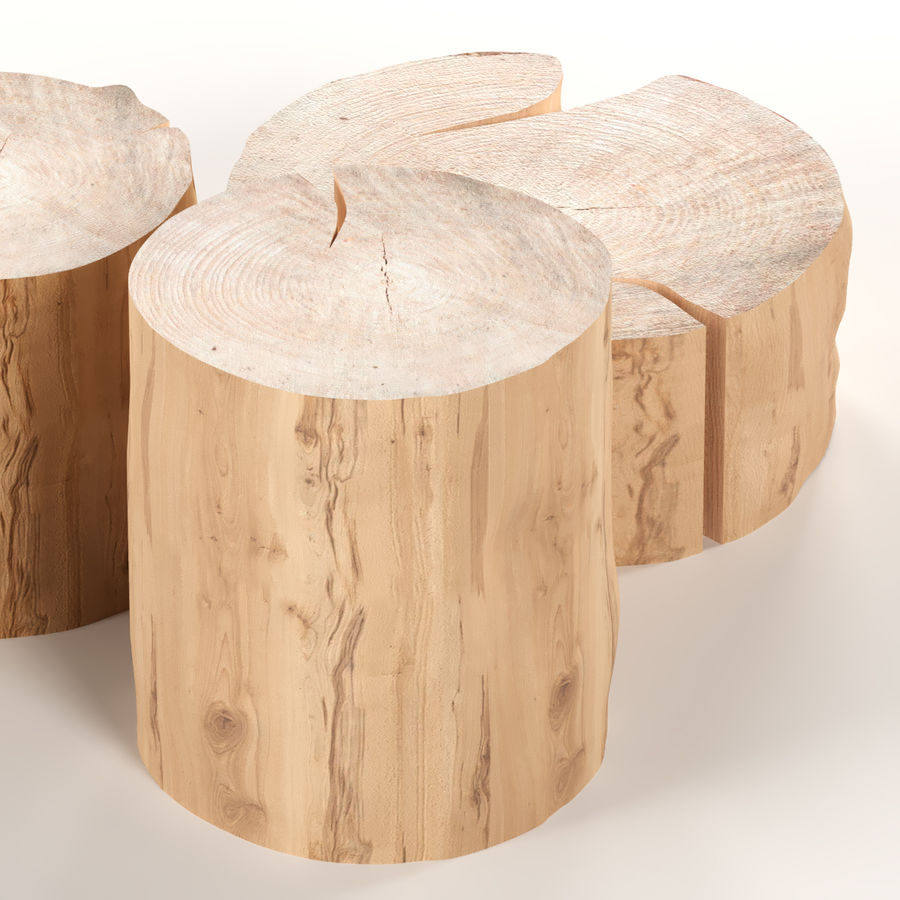 3 커피 테이블 그루터기 royalty-free 3d model - Preview no. 2
