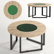 Round coffee table in wood and epoxy 3d model
