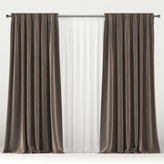 Brown velvet curtains with white tulle 3d model
