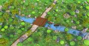 만화 숲 강 3d model