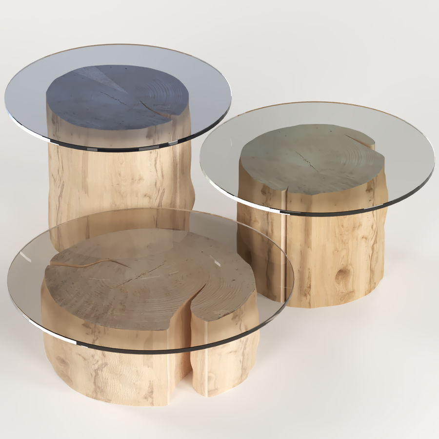 - 3 Round Coffee Table Stump With Glass Top 3D Model $19 - .unknown