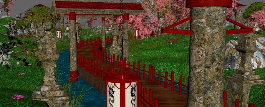 Japanese Garden Environment royalty-free 3d model - Preview no. 21
