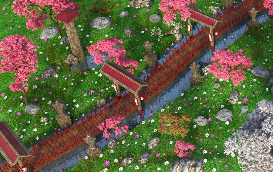 Japanese Garden Environment royalty-free 3d model - Preview no. 5