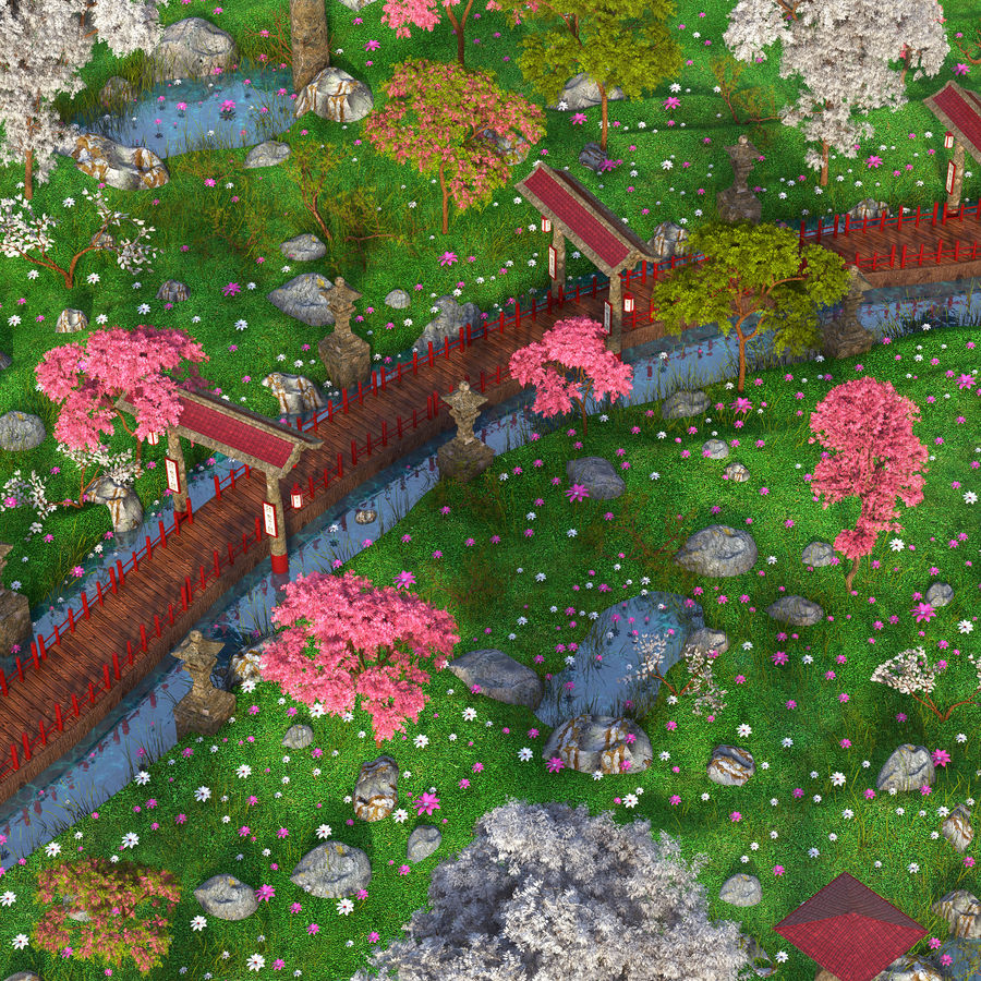 Japanese Garden Environment royalty-free 3d model - Preview no. 9