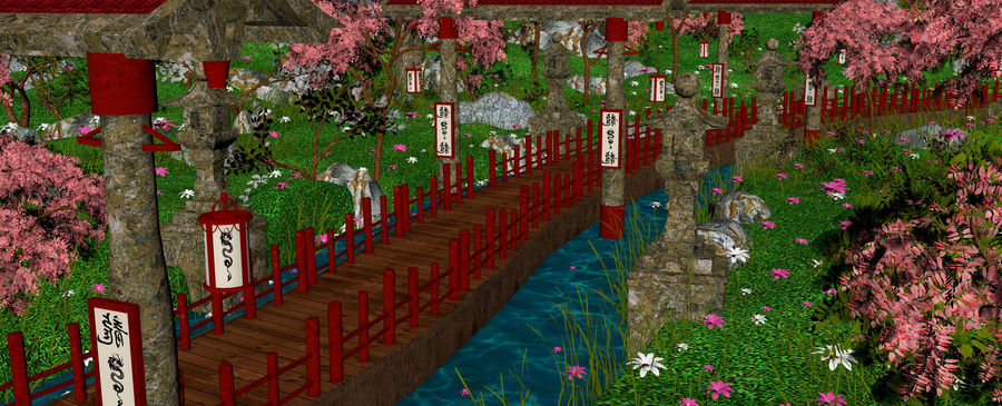 Japanese Garden Environment royalty-free 3d model - Preview no. 14