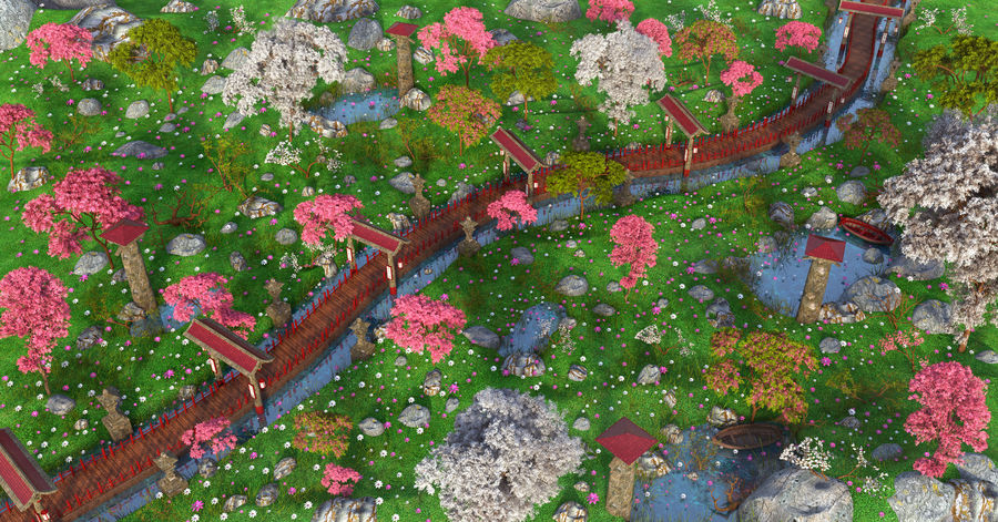 Japanese Garden Environment royalty-free 3d model - Preview no. 1