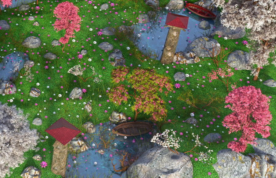 Japanese Garden Environment royalty-free 3d model - Preview no. 6