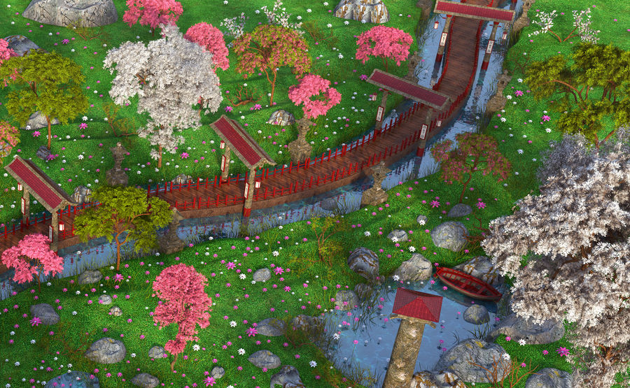 Japanese Garden Environment royalty-free 3d model - Preview no. 3