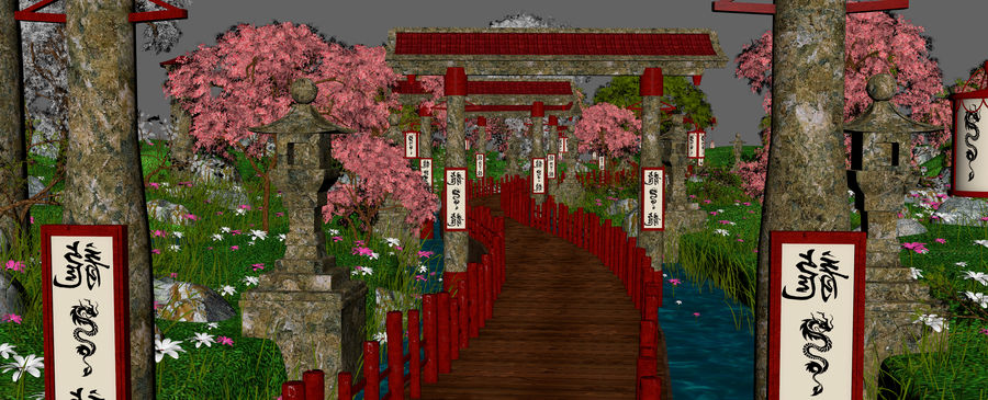 Japanese Garden Environment royalty-free 3d model - Preview no. 11