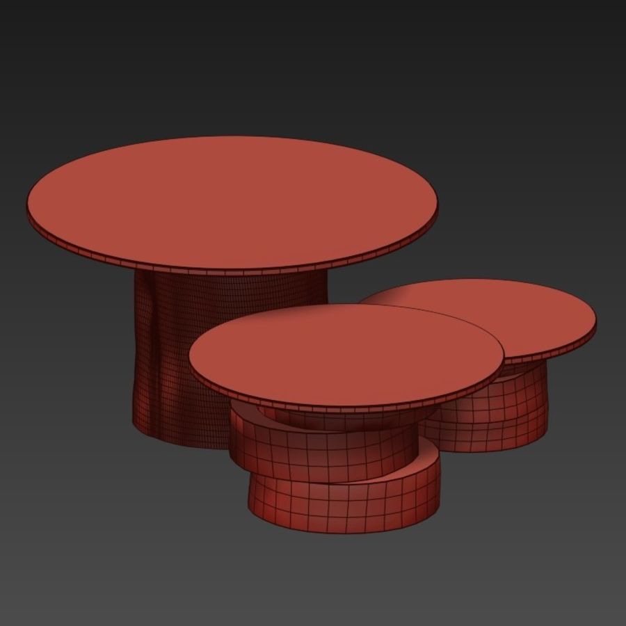 A set of light tables from stumps and slabs with glass tops royalty-free 3d model - Preview no. 12