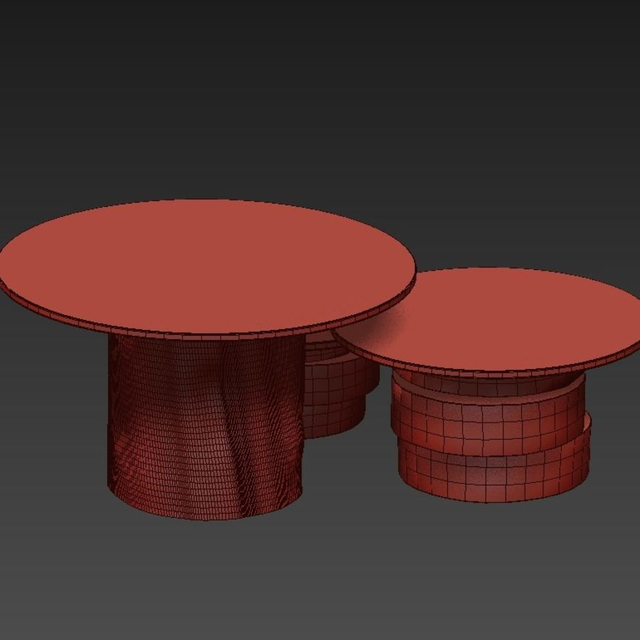 A set of light tables from stumps and slabs with glass tops royalty-free 3d model - Preview no. 19