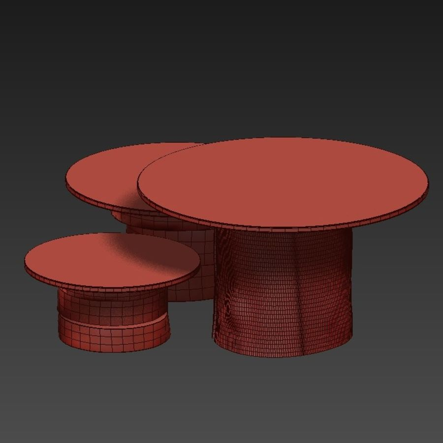A set of light tables from stumps and slabs with glass tops royalty-free 3d model - Preview no. 29