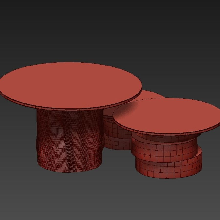 A set of light tables from stumps and slabs with glass tops royalty-free 3d model - Preview no. 17