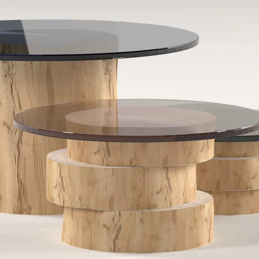 A set of light tables from stumps and slabs with glass tops royalty-free 3d model - Preview no. 5