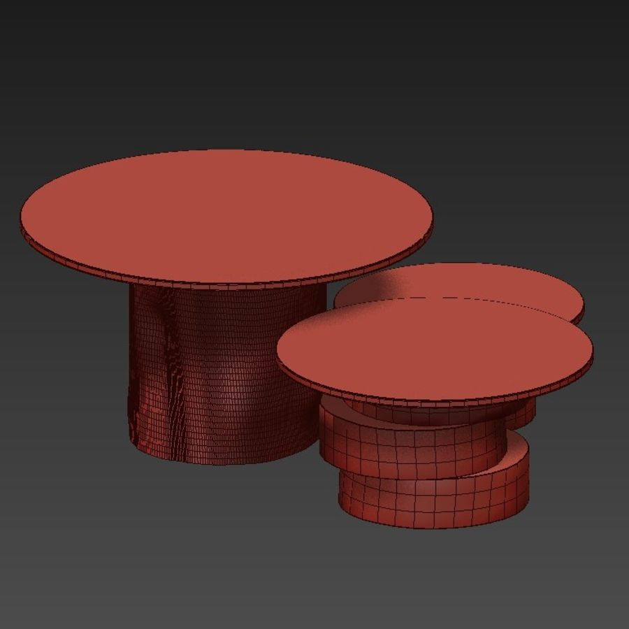 A set of light tables from stumps and slabs with glass tops royalty-free 3d model - Preview no. 14