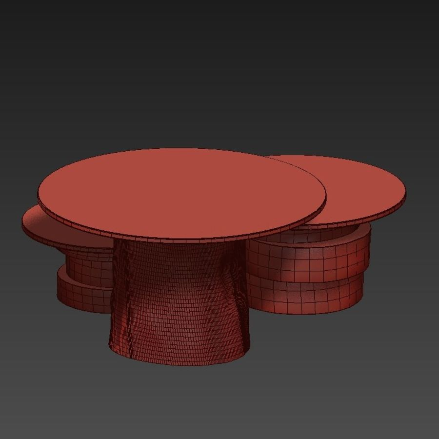 A set of light tables from stumps and slabs with glass tops royalty-free 3d model - Preview no. 23