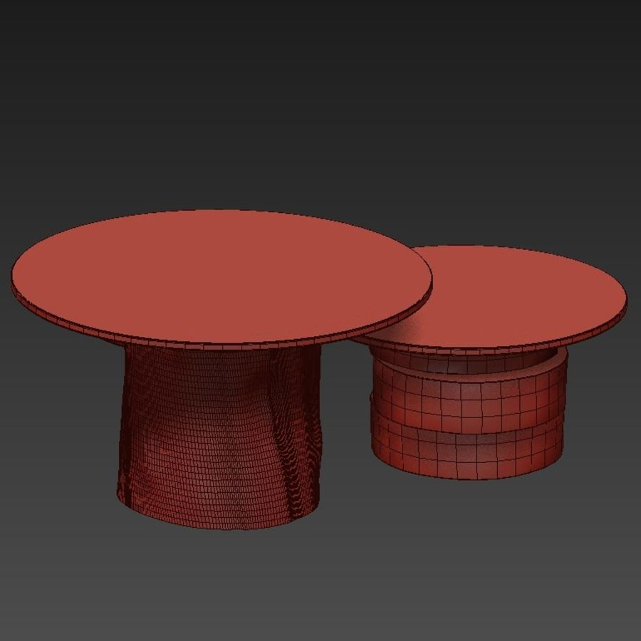 A set of light tables from stumps and slabs with glass tops royalty-free 3d model - Preview no. 21