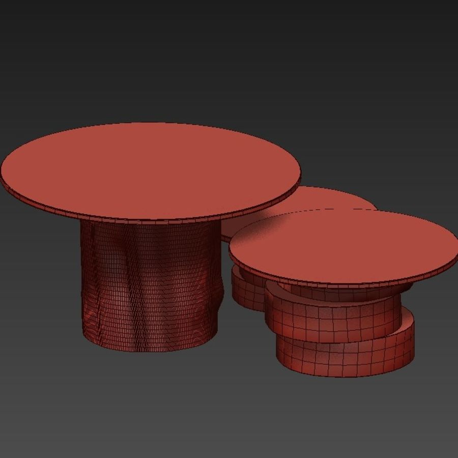 A set of light tables from stumps and slabs with glass tops royalty-free 3d model - Preview no. 16