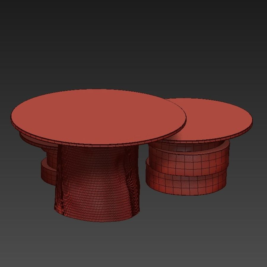 A set of light tables from stumps and slabs with glass tops royalty-free 3d model - Preview no. 22