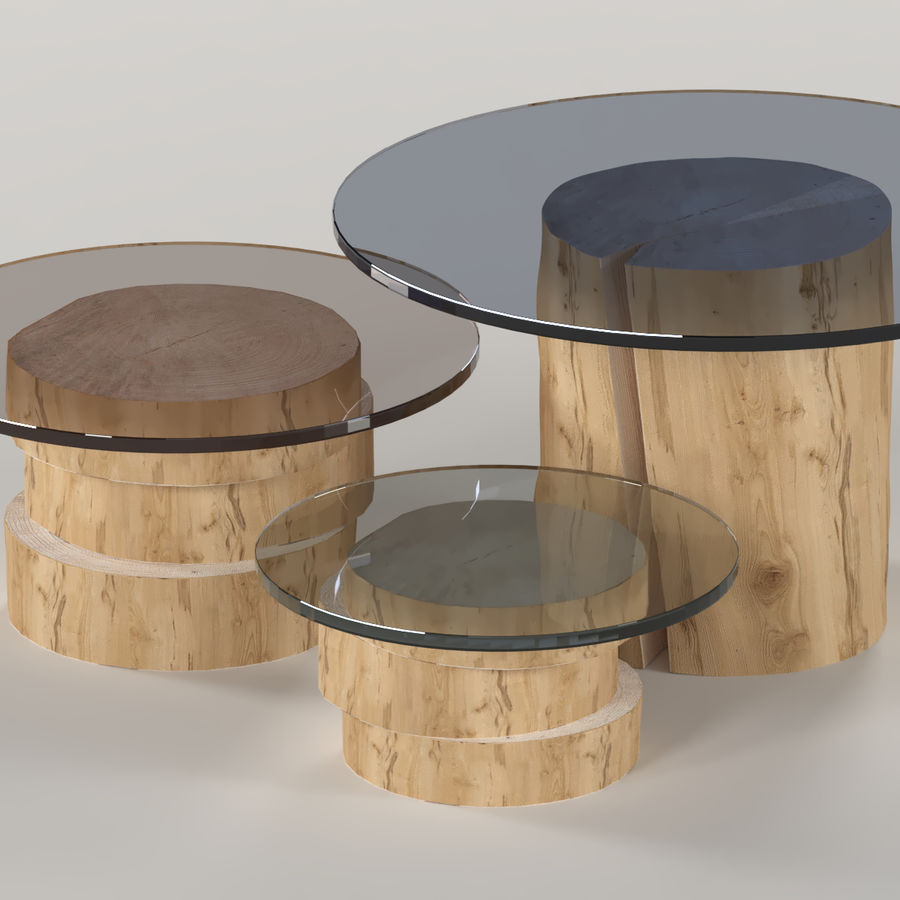 A set of light tables from stumps and slabs with glass tops royalty-free 3d model - Preview no. 3