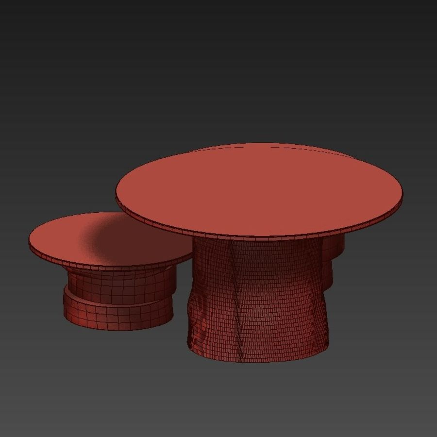 A set of light tables from stumps and slabs with glass tops royalty-free 3d model - Preview no. 26