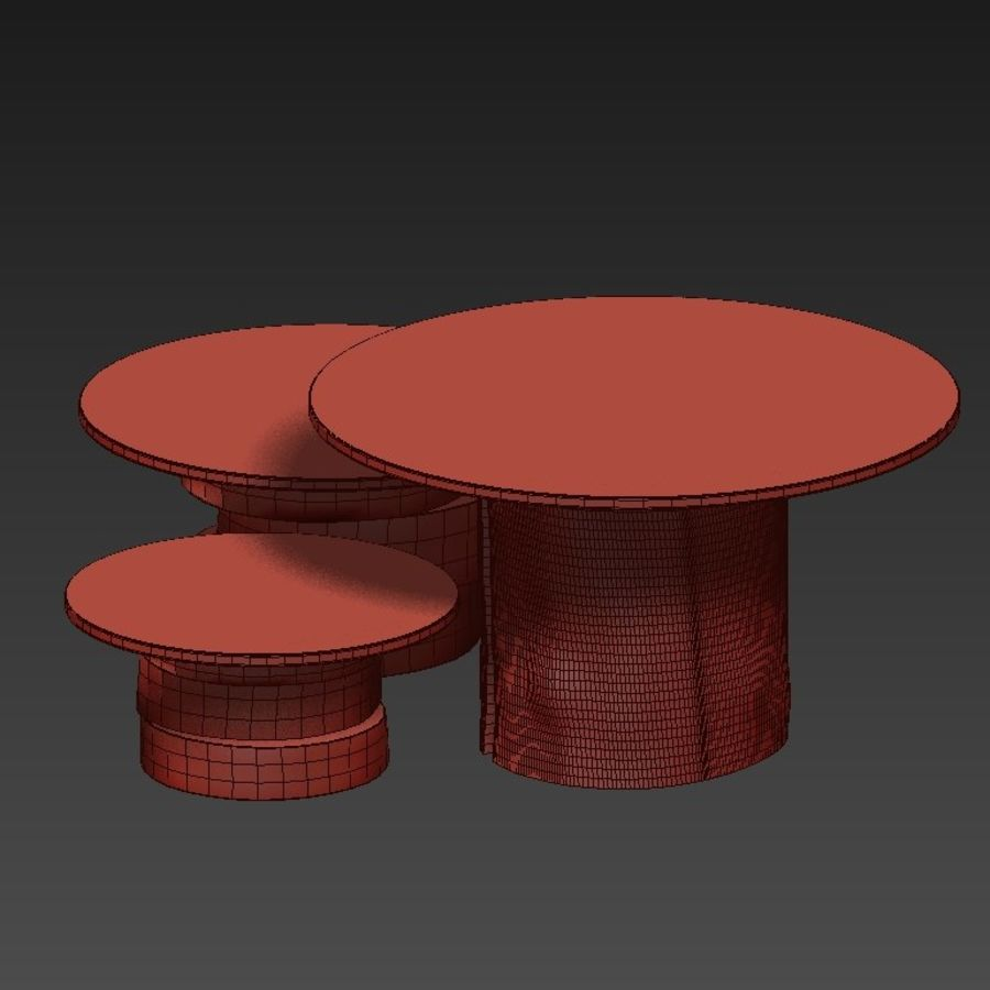 A set of light tables from stumps and slabs with glass tops royalty-free 3d model - Preview no. 30