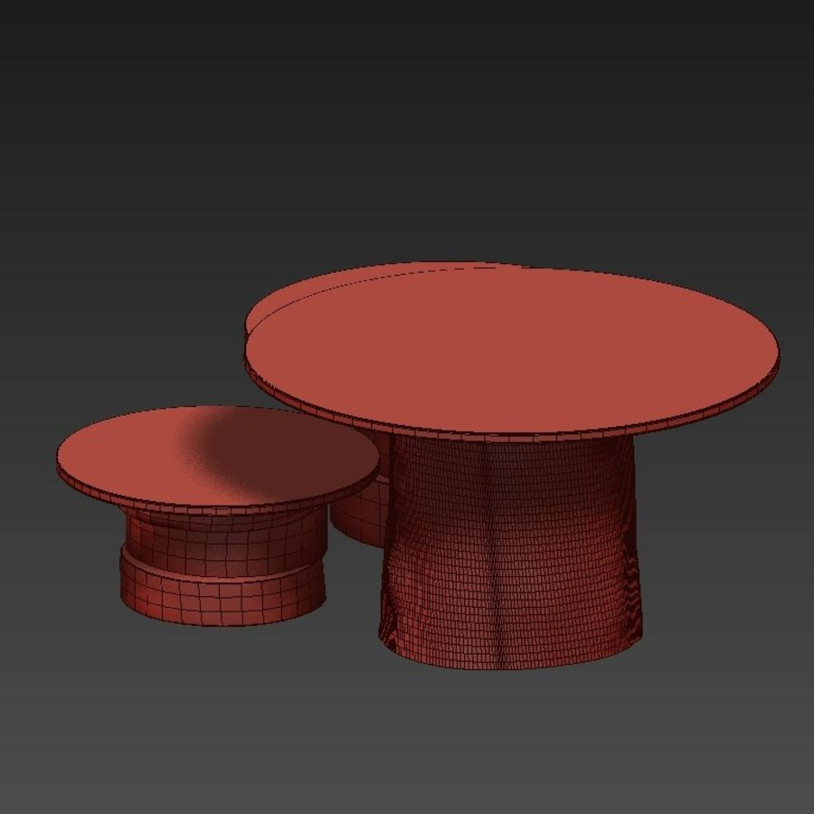 A set of light tables from stumps and slabs with glass tops royalty-free 3d model - Preview no. 27