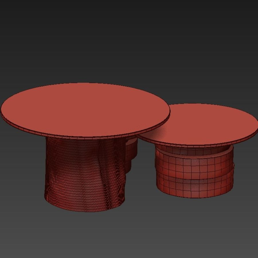 A set of light tables from stumps and slabs with glass tops royalty-free 3d model - Preview no. 20