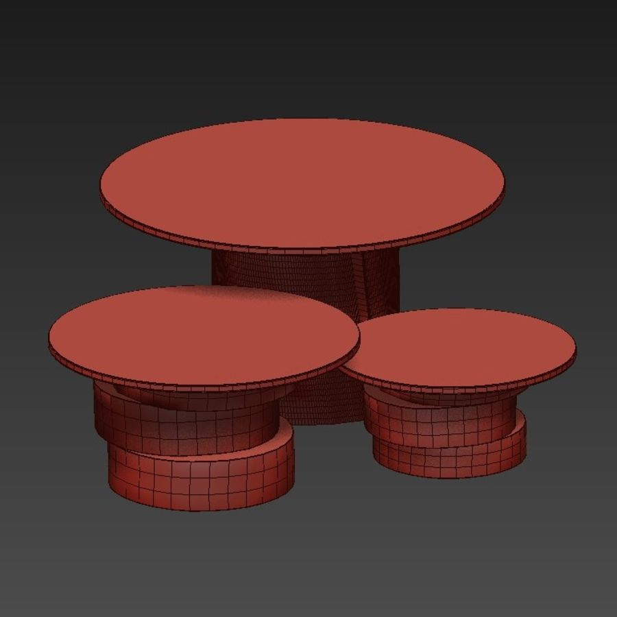 A set of light tables from stumps and slabs with glass tops royalty-free 3d model - Preview no. 8