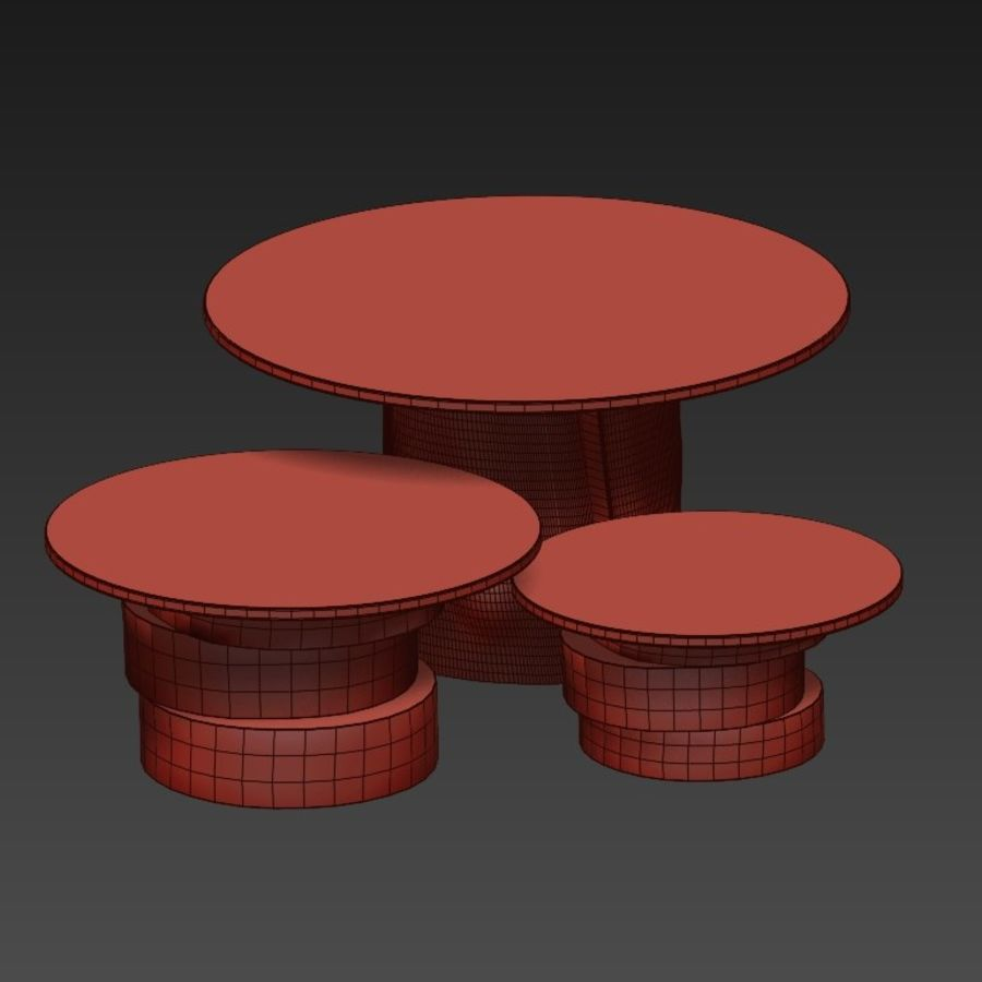 A set of light tables from stumps and slabs with glass tops royalty-free 3d model - Preview no. 7
