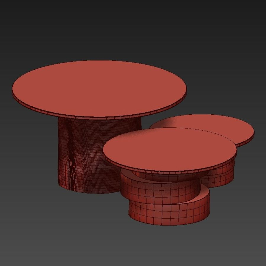 A set of light tables from stumps and slabs with glass tops royalty-free 3d model - Preview no. 13