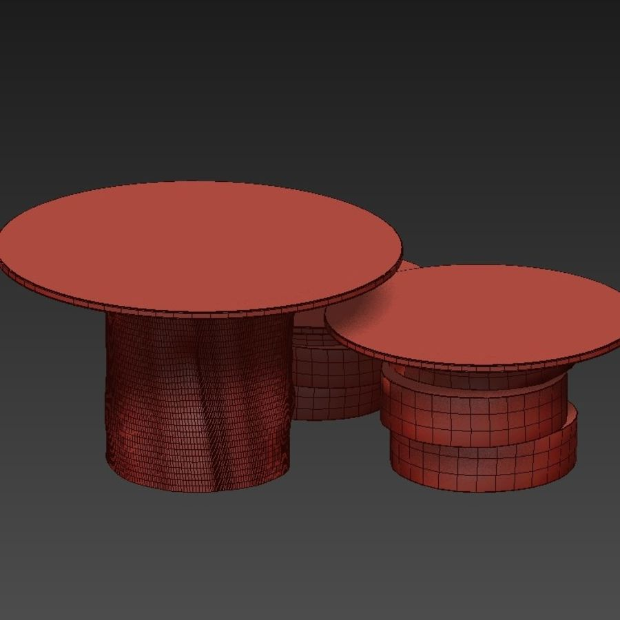 A set of light tables from stumps and slabs with glass tops royalty-free 3d model - Preview no. 18