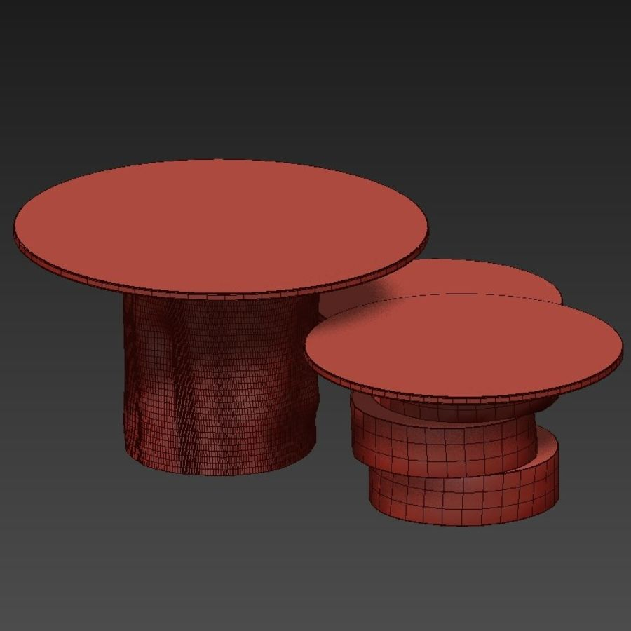 A set of light tables from stumps and slabs with glass tops royalty-free 3d model - Preview no. 15