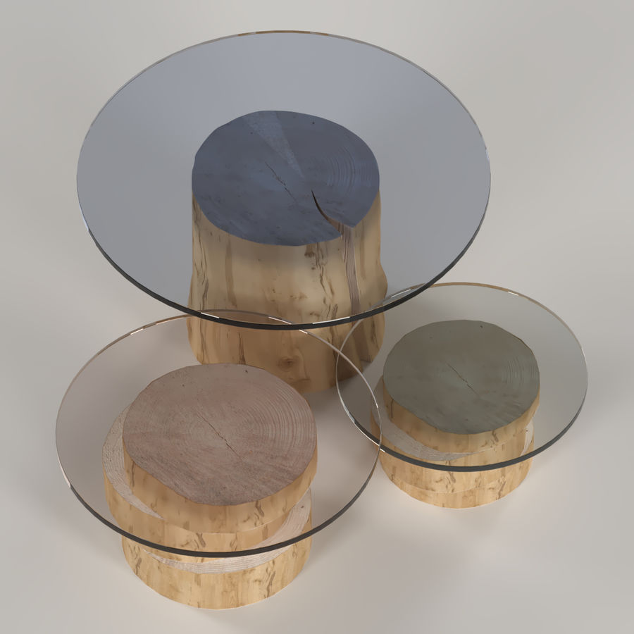 A set of light tables from stumps and slabs with glass tops royalty-free 3d model - Preview no. 4