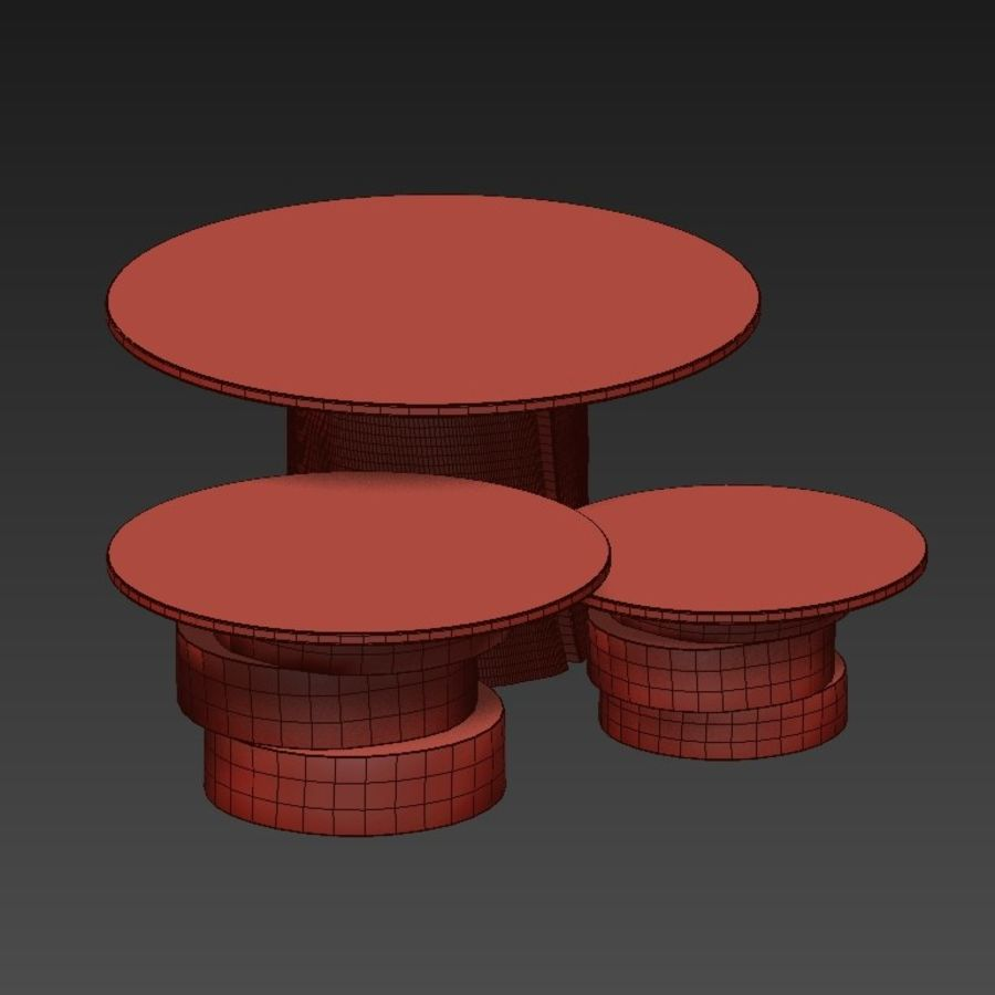 A set of light tables from stumps and slabs with glass tops royalty-free 3d model - Preview no. 9