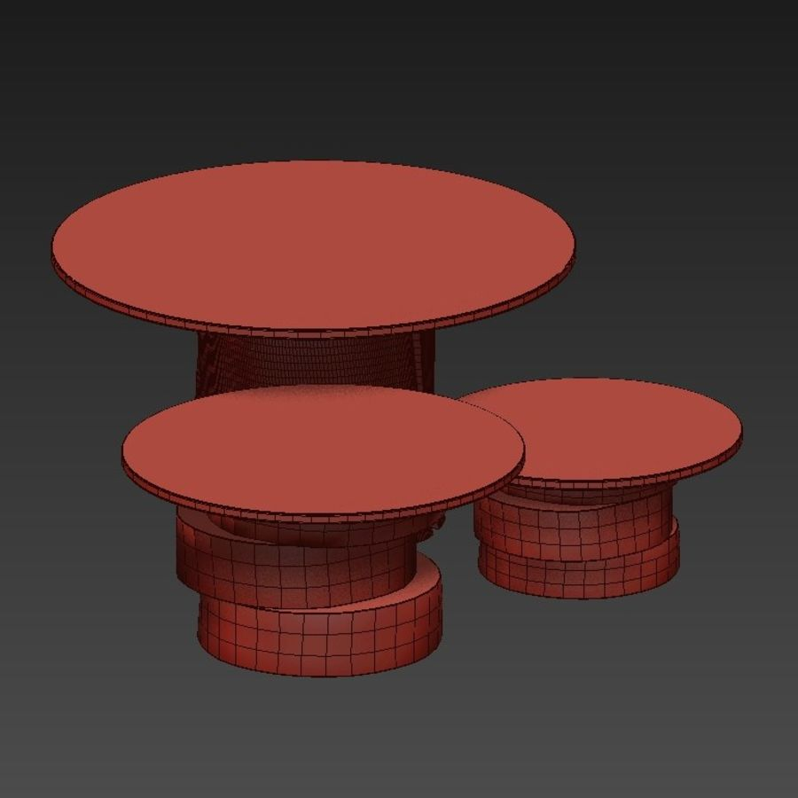 A set of light tables from stumps and slabs with glass tops royalty-free 3d model - Preview no. 10
