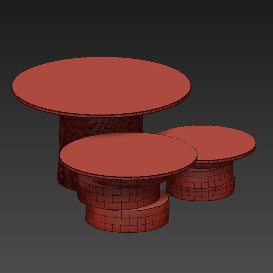 A set of light tables from stumps and slabs with glass tops royalty-free 3d model - Preview no. 11