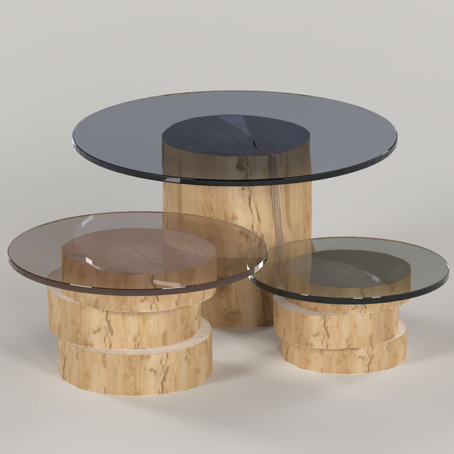 A set of light tables from stumps and slabs with glass tops royalty-free 3d model - Preview no. 1