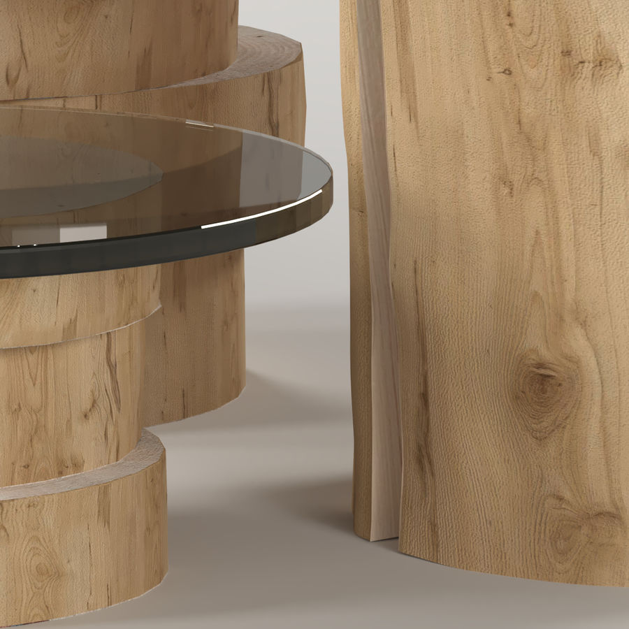 A set of light tables from stumps and slabs with glass tops royalty-free 3d model - Preview no. 6