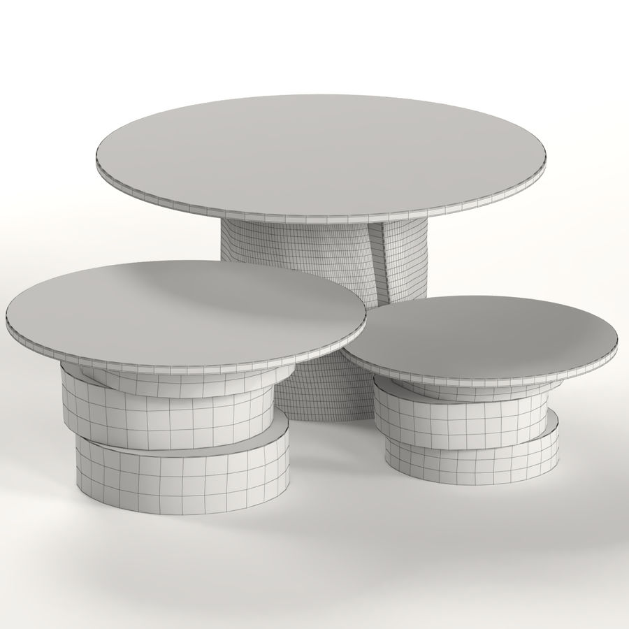 A set of light tables from stumps and slabs with glass tops royalty-free 3d model - Preview no. 2