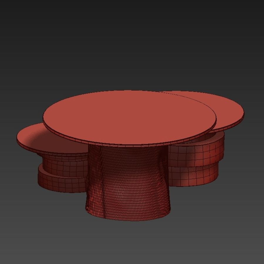 A set of light tables from stumps and slabs with glass tops royalty-free 3d model - Preview no. 24